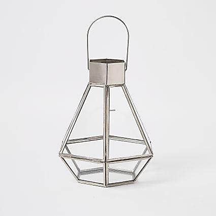 Silver small glass lantern