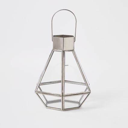 Silver small glass lantern