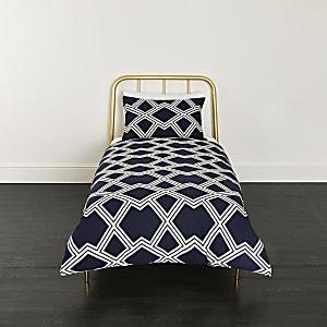 Marineblaues Bettwäsche-Set mit geometrischem Print