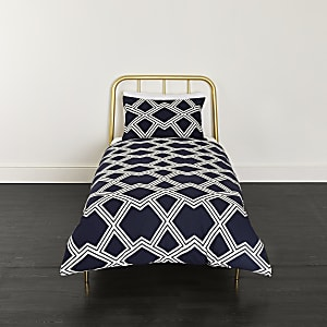Navy geo print single duvet bed set