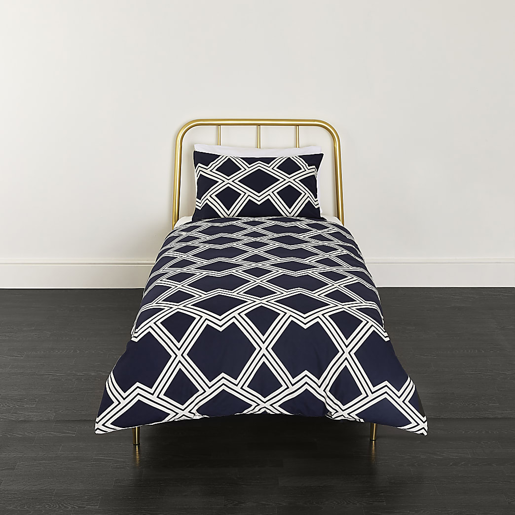 Navy geo print single duvet bed set