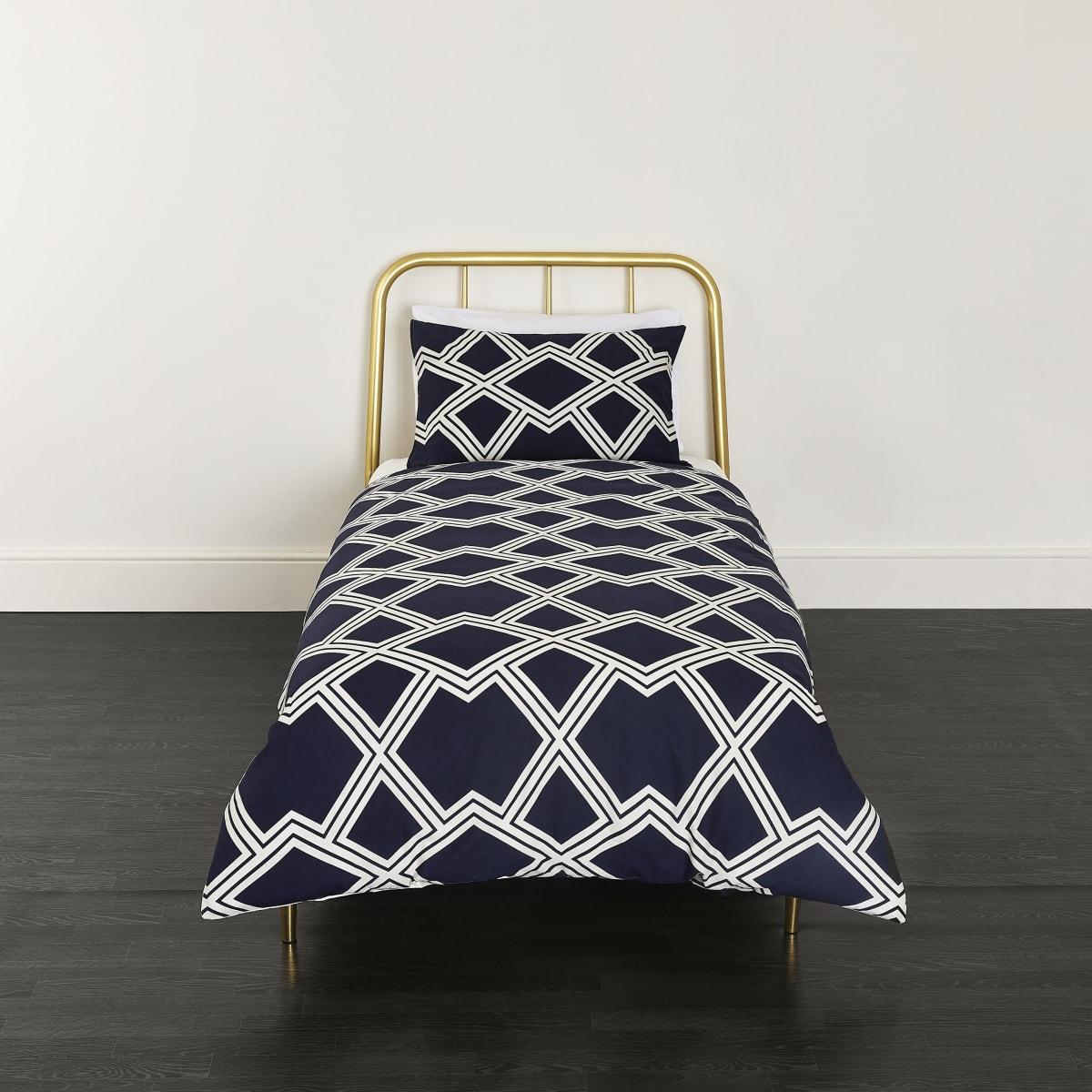 Parure de lit simple à imprimé géométrique bleu marine
