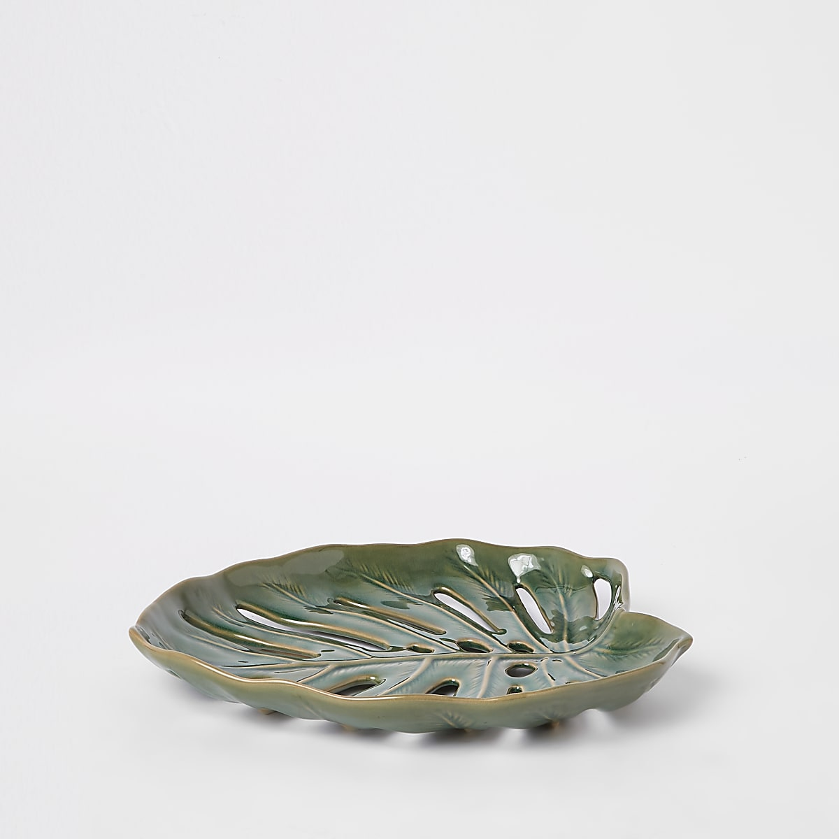 Green palm leaf ceramic tray