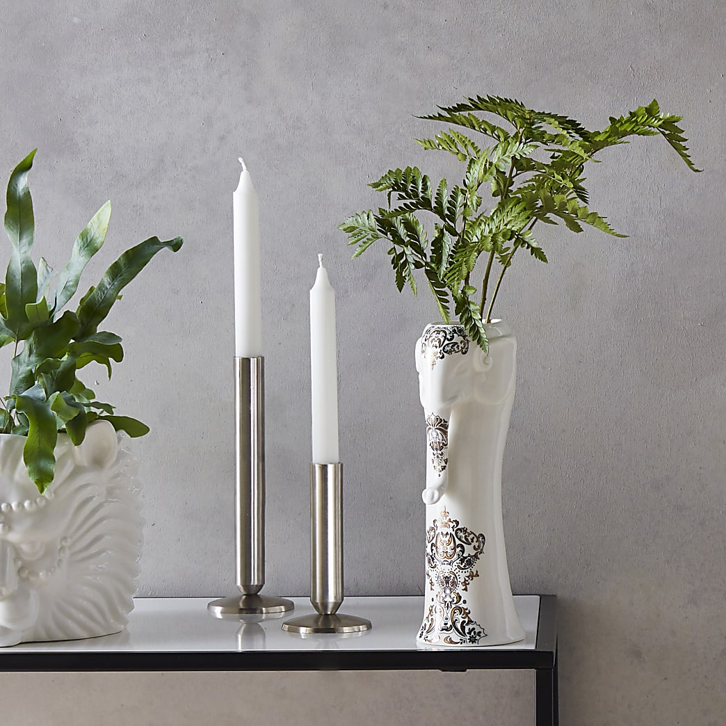 Large silver candle holders