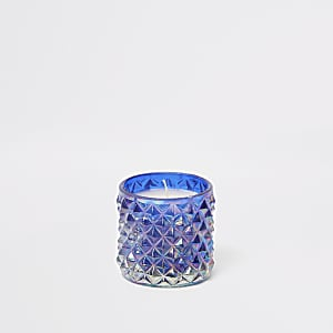 Blue iridescent spikey small candle