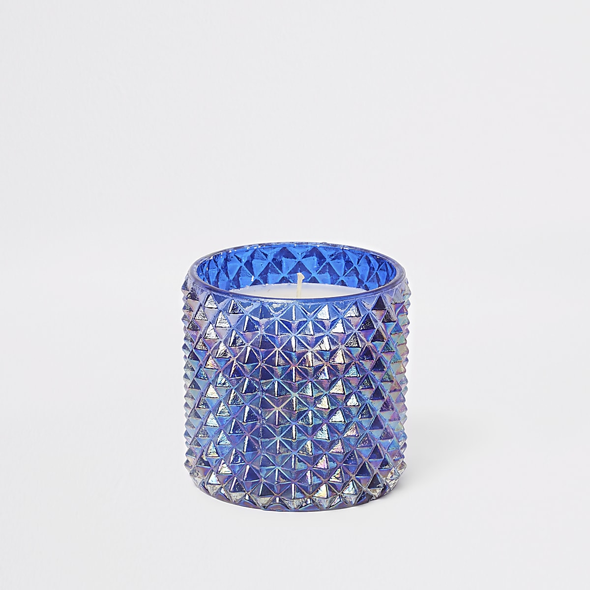 Blue iridescent spikey large candle