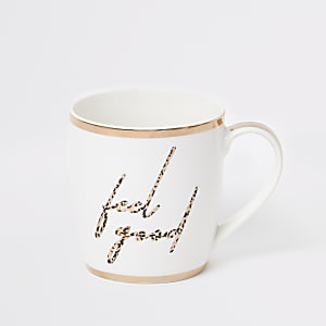 Tasse en porcelaine «Feel good» imprimé léopard blanche