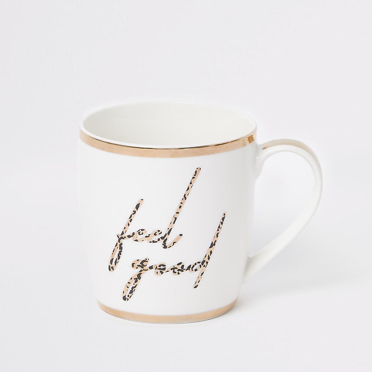 White 'Feel good' leopard print china mug