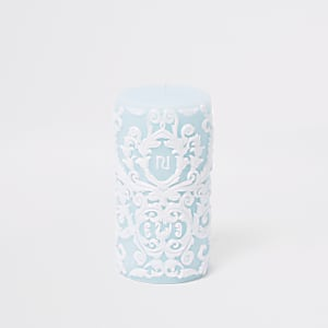 Blue carved candle