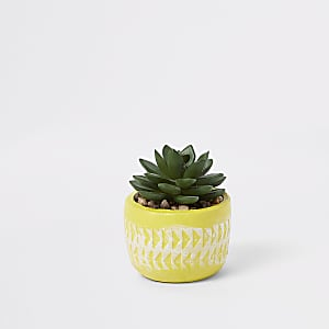 Yellow small artificial succulent pot