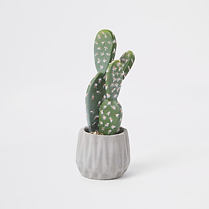 Grey geo print artificial succulent pot