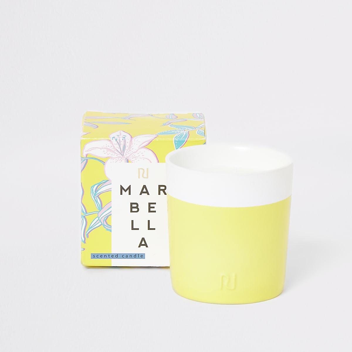 Yellow Marbella gardenia and vanilla candle