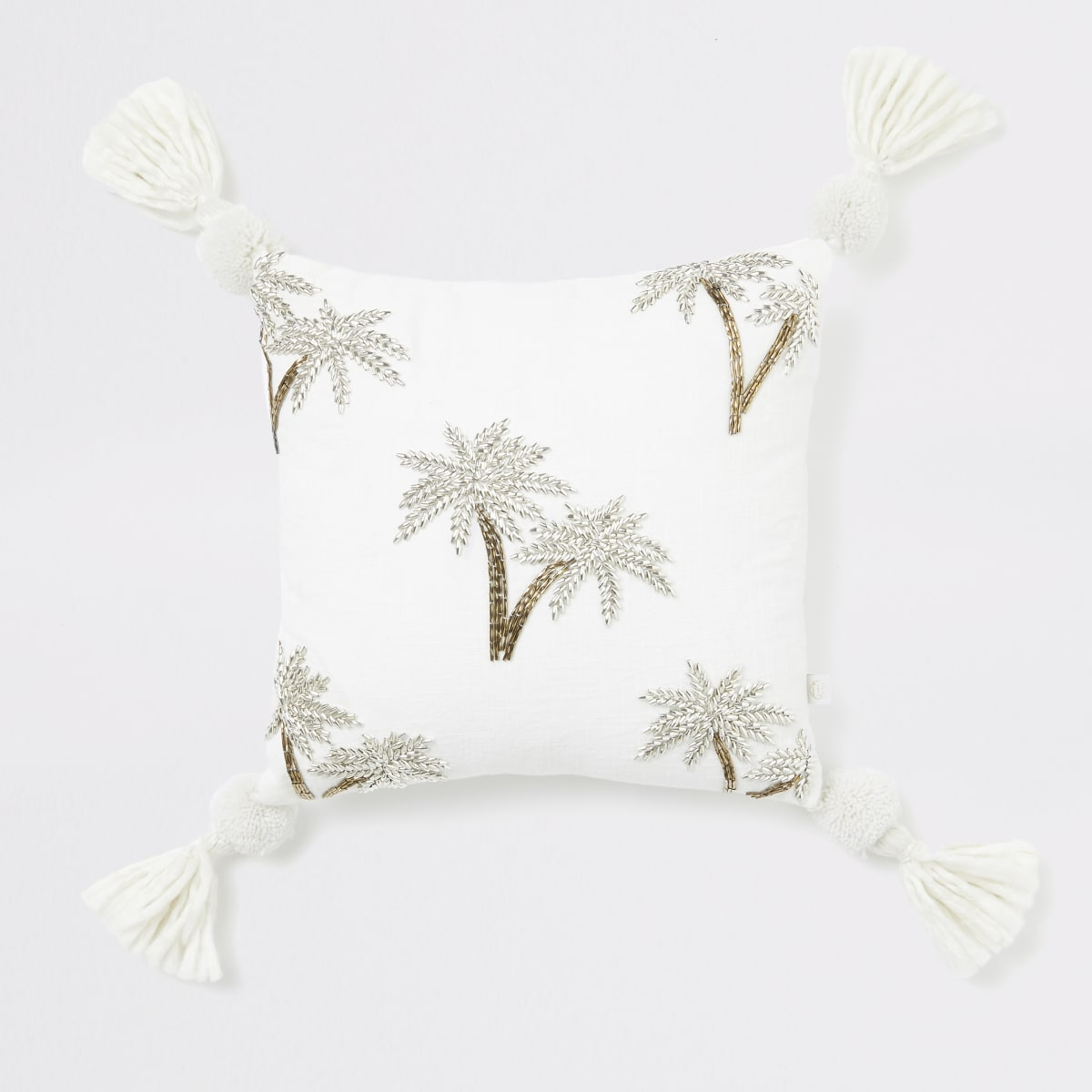 Small beige palm tree embroidered cushion