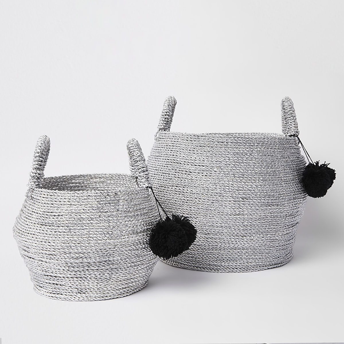 Silver set of two handwoven storage baskets