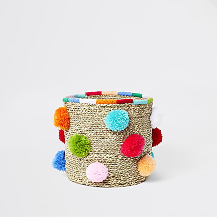 Beige pom pom handwoven storage basket