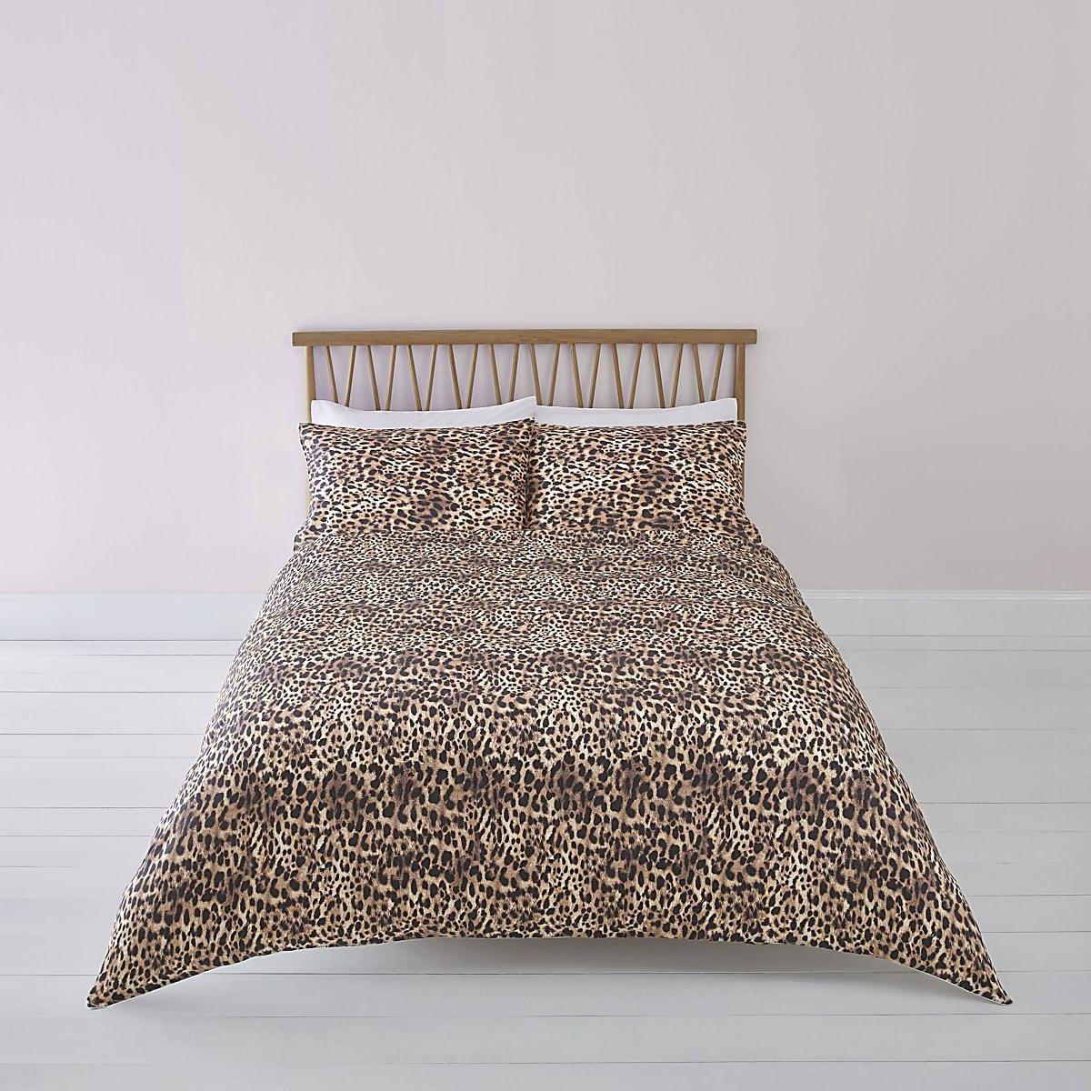 Bruine superkingsize dekbedset met luipaardprint