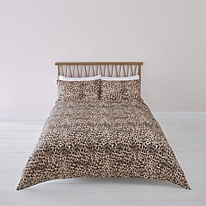 Braune Bettgarnitur mit Leoparden-Print, Kingsize