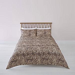 Braune Bettgarnitur mit Leoparden-Print, Doppelbett