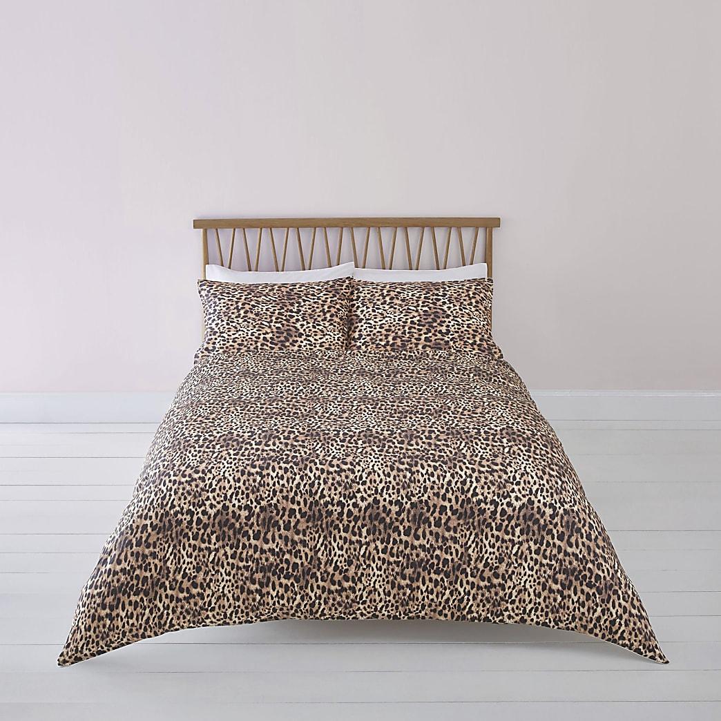 Brown leopard print double duvet bed set