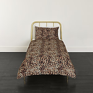 Brown leopard print single duvet bed set