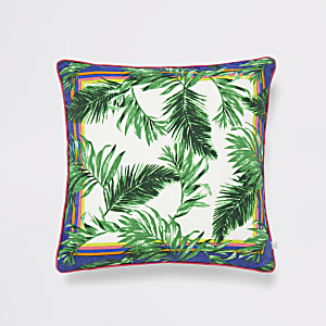 Green jungle print cushion cover