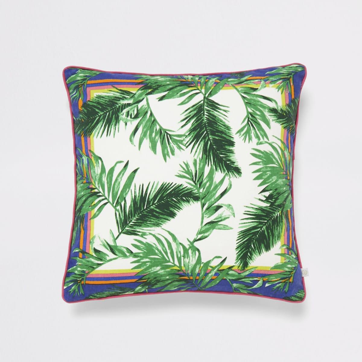 Green jungle print cushion cover