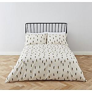 Parure de lit à imprimé ananas crème pour lit king size