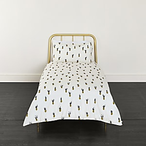 Cream pineapple print single duvet bed set