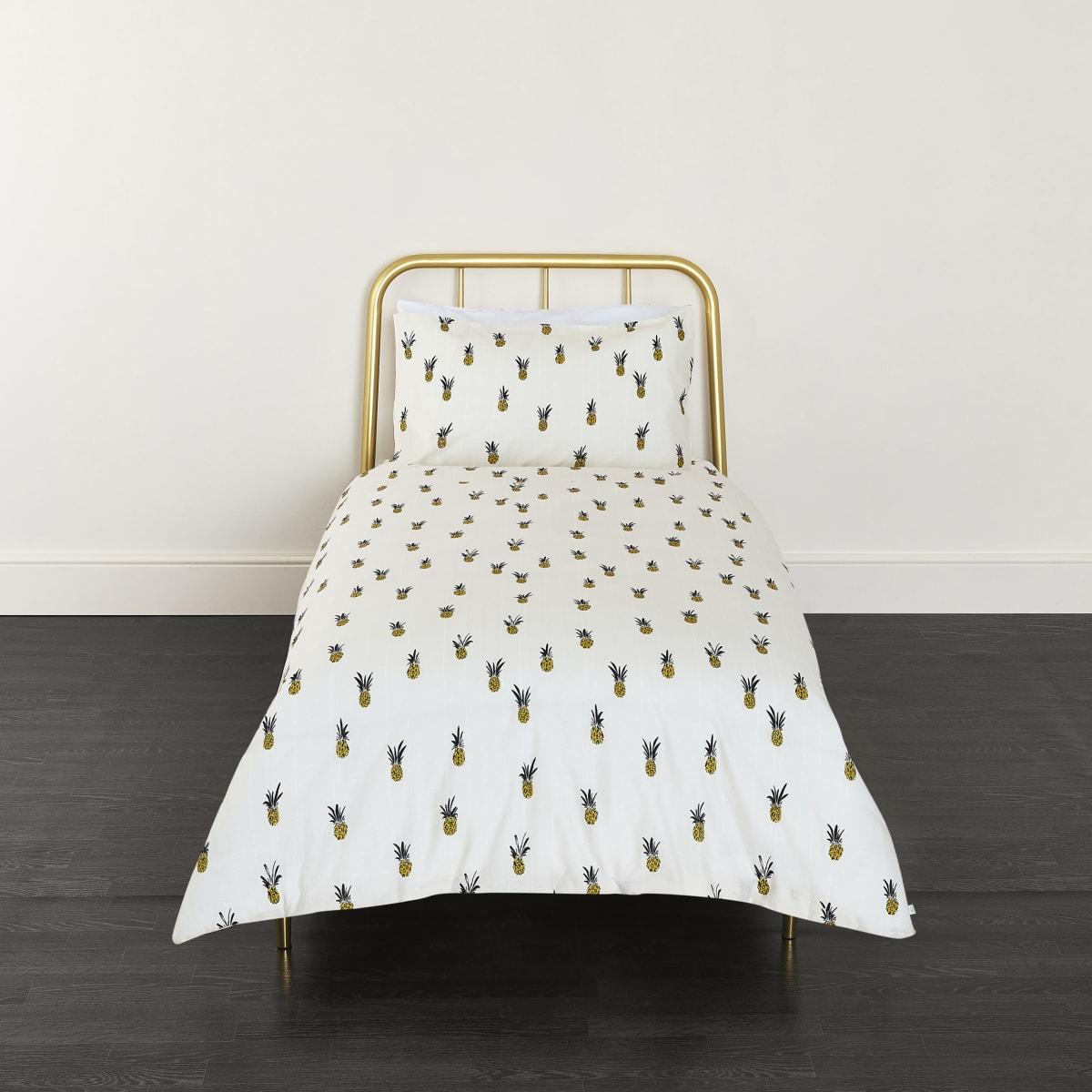Cream pineapple print single duvet bed set