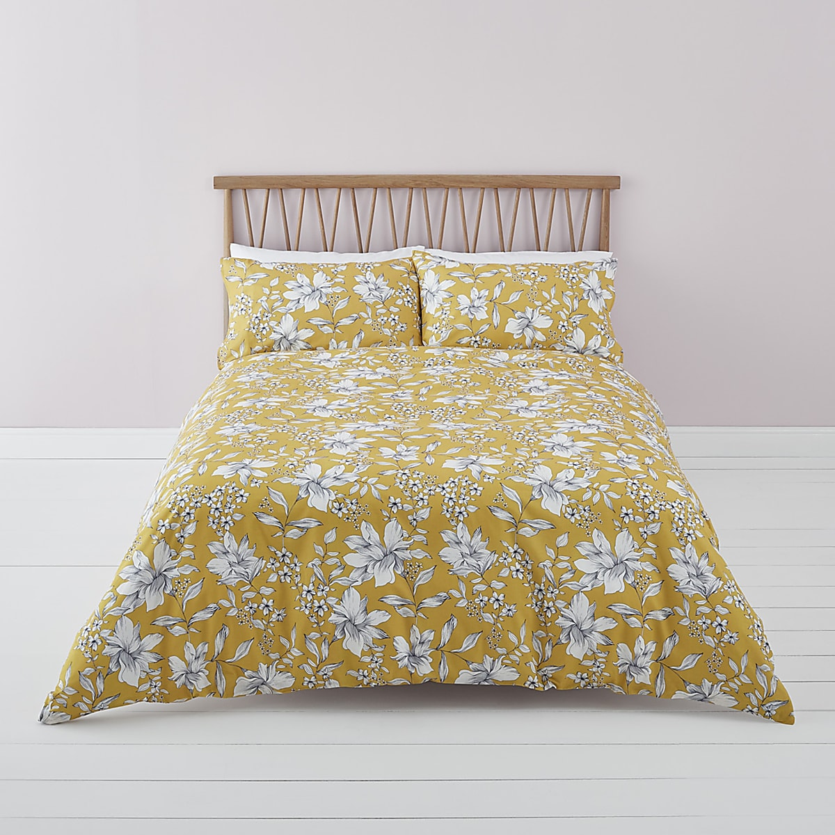 Yellow ditsy floral super king duvet bed set