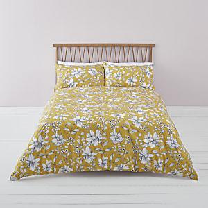 Gele kingsize dekbedset met bloemenprint