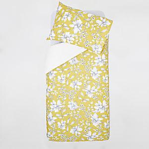 Gele eenpersoonsdekbedset met bloemenprint