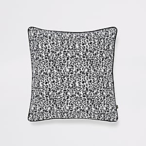 White leopard print cushion cover