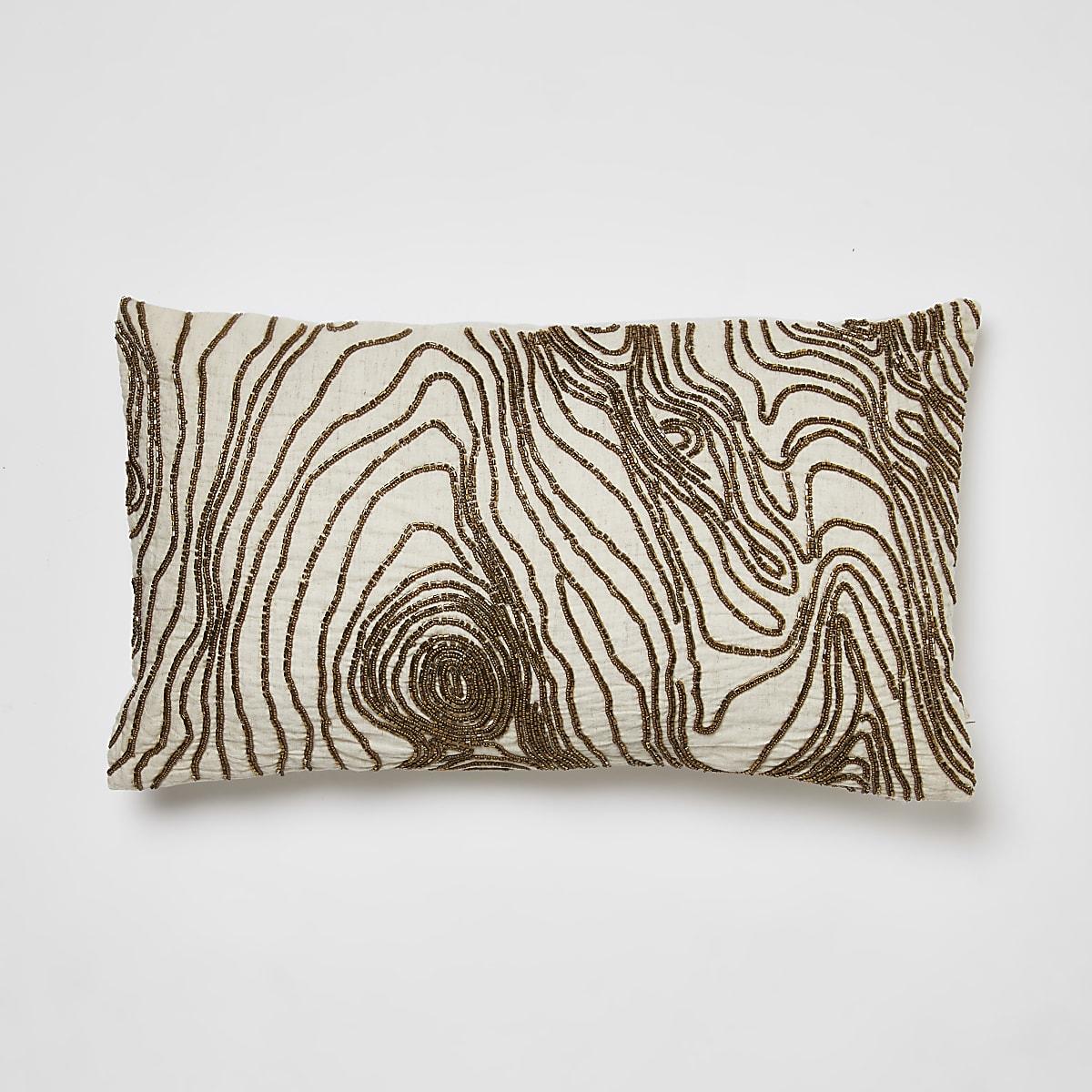 Cream beaded tree cushion