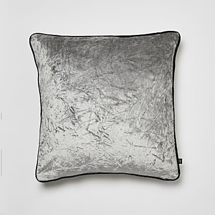 Grey crushed velvet cushion