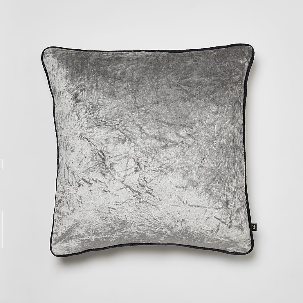 Grey crushed velvet cushion
