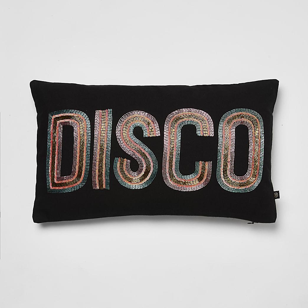 Coussin« Disco » noir ornéde perles