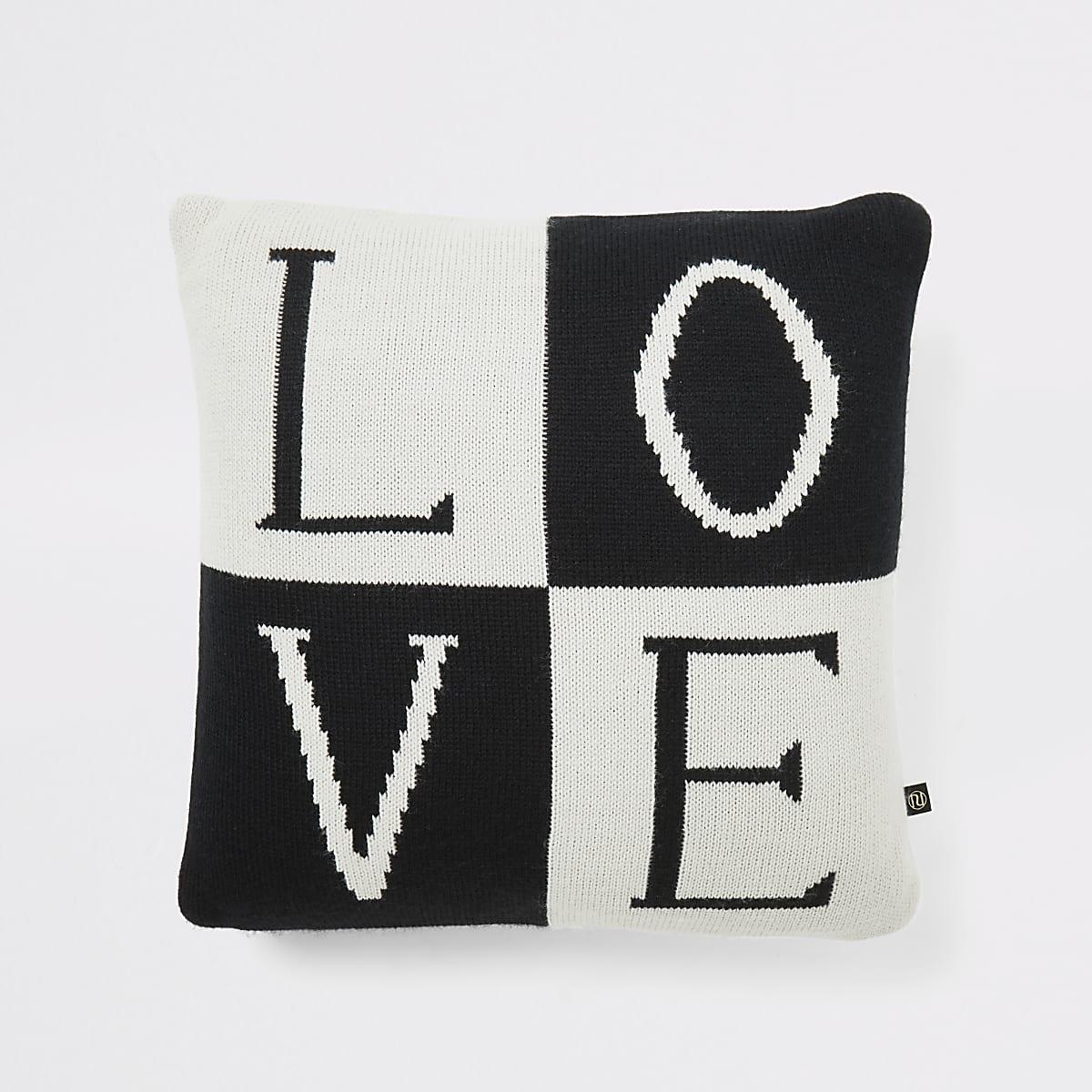 Coussin en maille noir « Love»