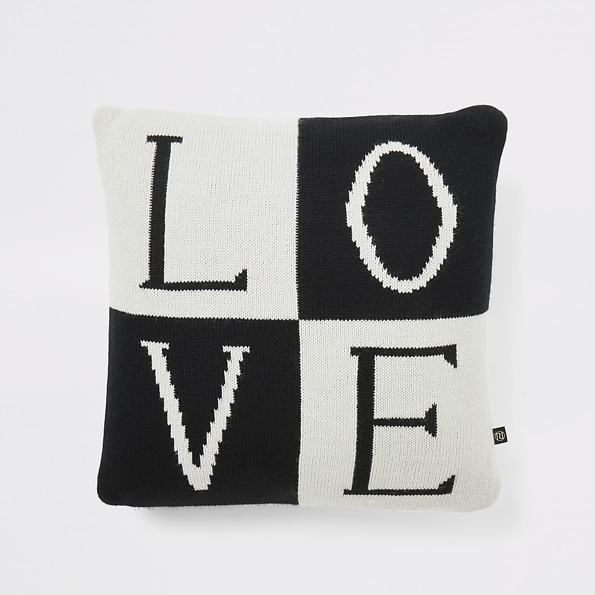 Zwart gebreid kussen met 'Love' slogan