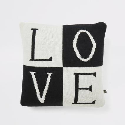 Black knitted 'Love' cushion