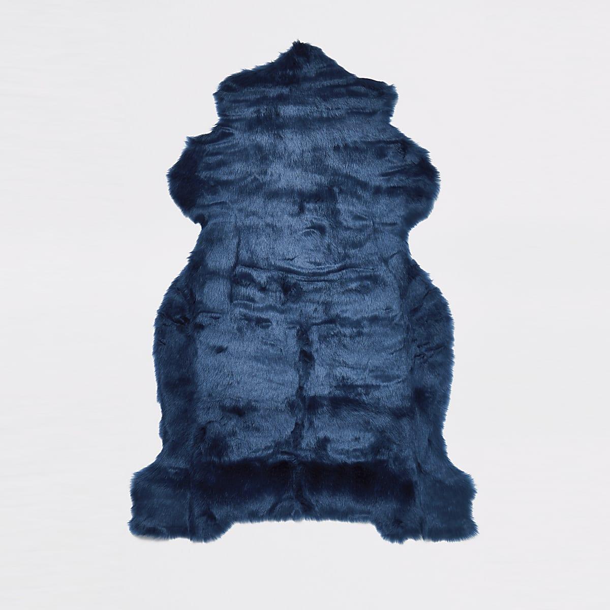 Blue faux fur rug