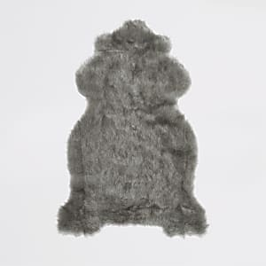 Grey faux fur rug