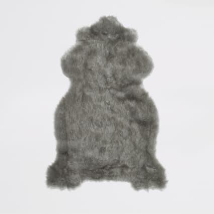 Grey faux fur rug