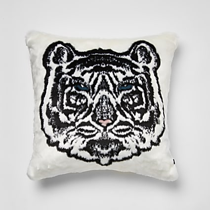 White faux fur tiger printed cushion