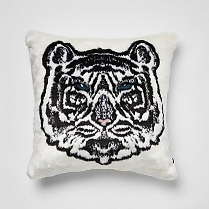 White faux fur tiger printed cushion