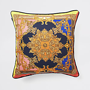 Navy ornate print cushion