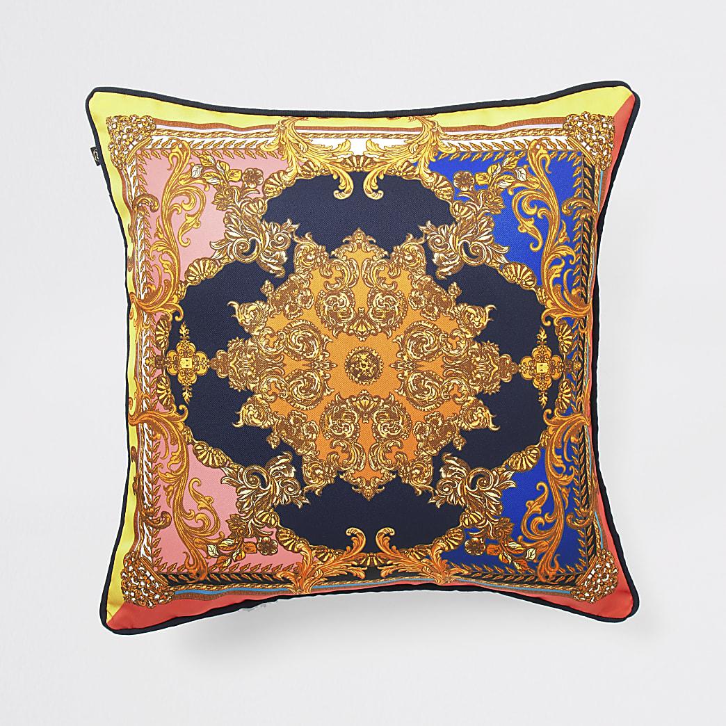Navy ornate print cushion