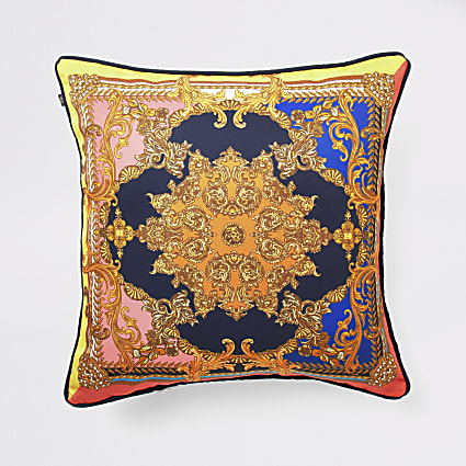 Navy ornate print cushion cover