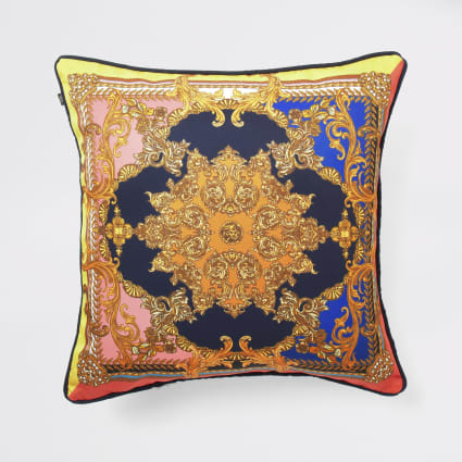 Navy ornate print cushion cover