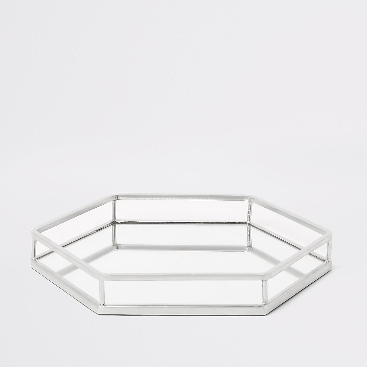 Silver hexagonal mirrored tray